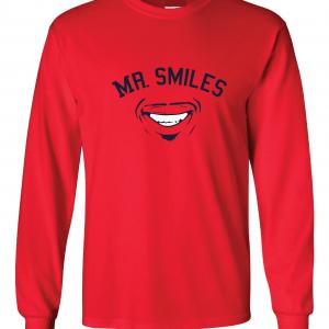 Mr. Smiles - Francisco Lindor - Cleveland Indians, Red, Long-Sleeved