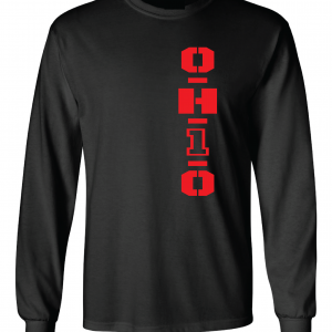 OH1O - Ohio State Buckeyes, Black/Red, Long-Sleeved