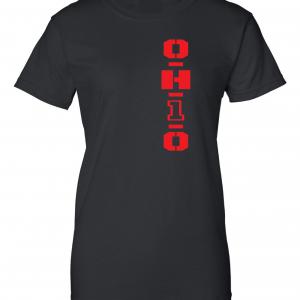 OH1O - Ohio State Buckeyes, Black/Red, Women's Cut T-Shirt