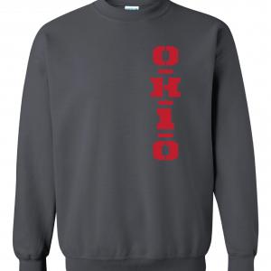 OH1O - Ohio State Buckeyes, Charcoal/Red, Crew Sweatshirt