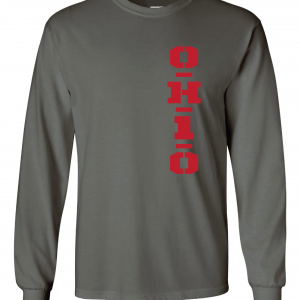 OH1O - Ohio State Buckeyes, Charcoal/Red, Long-Sleeved
