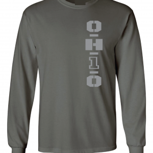 OH1O - Ohio State Buckeyes, Charcoal/Silver, Long-Sleeved