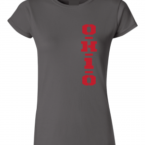 OH1O - Ohio State Buckeyes, Charcoal/Red, Women's Cut T-Shirt
