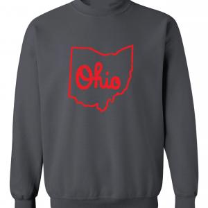 Script Ohio - Ohio State Buckeyes, Charcoal/Red, Crew Sweatshirt