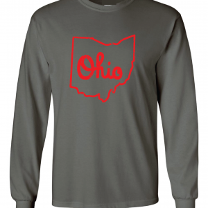 Script Ohio - Ohio State Buckeyes, Charcoal/Red, Long-Sleeved
