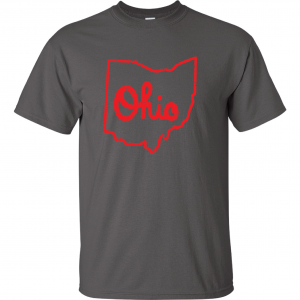 Script Ohio - Ohio State Buckeyes, Charcoal/Red, T-Shirt