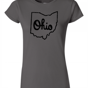 Script Ohio - Ohio State Buckeyes, Charcoal/Black, Women's Cut T-Shirt