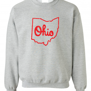 Script Ohio - Ohio State Buckeyes, Grey/Red, Crew Sweatshirt