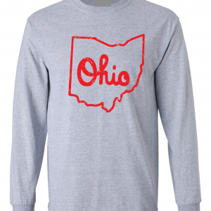Script Ohio - Ohio State Buckeyes, Grey/Red, Long-Sleeved