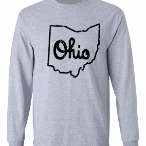 Script Ohio - Ohio State Buckeyes, Grey/Black, Long-Sleeved