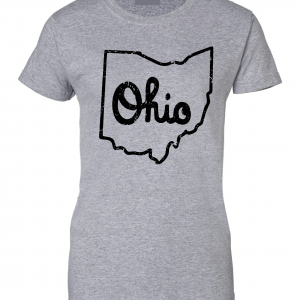 Script Ohio - Ohio State Buckeyes, Grey/Black, Women's Cut T-Shirt