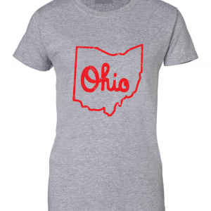 Script Ohio - Ohio State Buckeyes, Grey/Red, Women's Cut T-Shirt