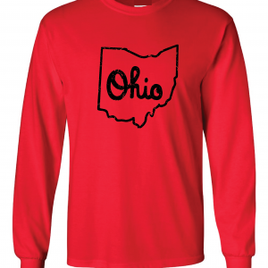 Script Ohio - Ohio State Buckeyes, Red, Long-Sleeved