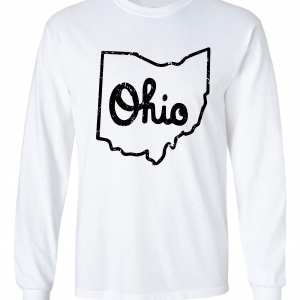 Script Ohio - Ohio State Buckeyes, White/Black, Long-Sleeved