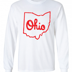 Script Ohio - Ohio State Buckeyes, White/Red, Long-Sleeved