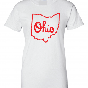 Script Ohio - Ohio State Buckeyes, White/Red, Women's Cut T-Shirt