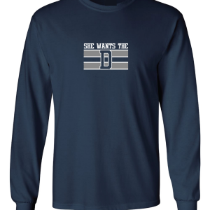 She Wants the D, Navy, Long-Sleeved