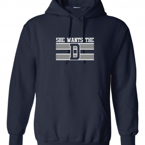 She Wants the D, Navy, Hoodie