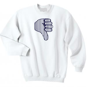 Thumbs Down Yankees, White, Crew Sweatshirt