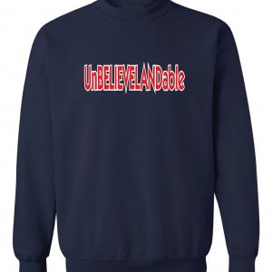 Unbelievelandable - Cleveland Indians, Navy, Crew Sweatshirt