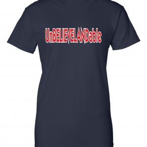 Unbelievelandable - Cleveland Indians, Navy, Women's Cut T-Shirt