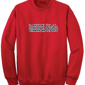 Unbelievelandable - Cleveland Indians, Red, Crew Sweatshirt