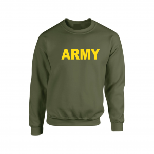 Army, Army Green/Yellow, Crew Sweatshirt