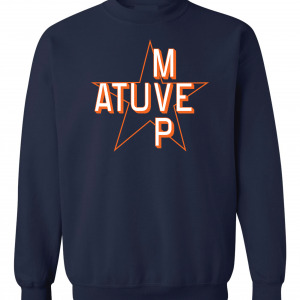 Atuve MVP - Jose Altuve - Houston Astros World Series 2017, Navy, Crew Sweatshirt