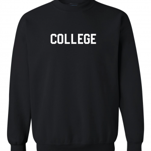 College, Black, Crew Sweatshirt