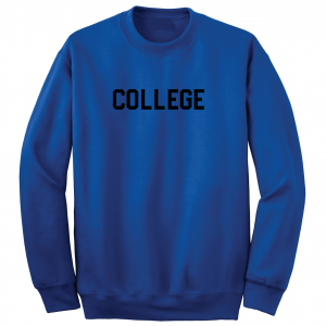 College, Royal Blue/Black, Crew Sweatshirt