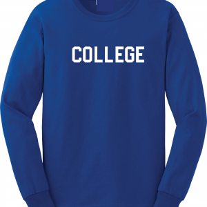College, Royal Blue/White, Long-Sleeved