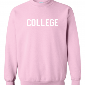 College, Pink/White, Crew Sweatshirt