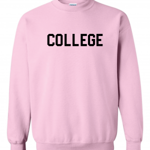 College, Pink/Black, Crew Sweatshirt