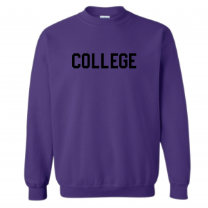 College, Purple/Black, Crew Sweatshirt