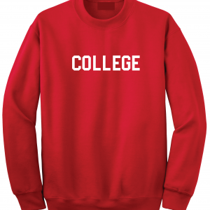 College, Red/White, Crew Sweatshirt