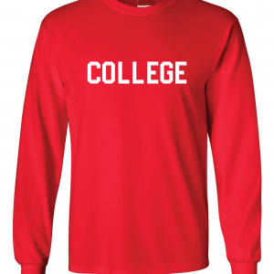 College, Red/White, Long-Sleeved