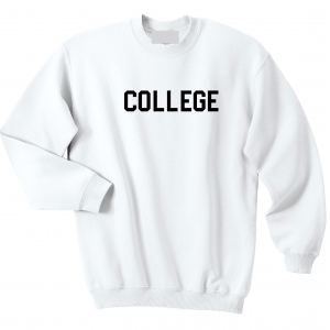 College, White, Crew Sweatshirt