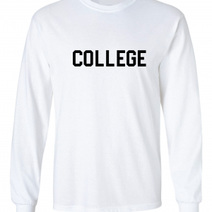 College, White, Long-Sleeved