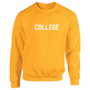 College, Yellow/White, Crew Sweatshirt