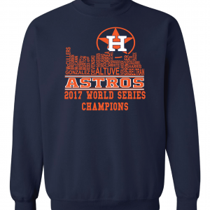 Houston Astros Skyline, Navy, Crew Sweatshirt