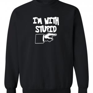 I'm with Stupid, Black, Crew Sweatshirt