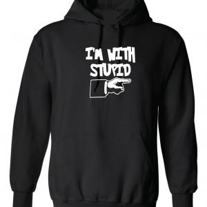 I'm with Stupid, Black, Hoodie