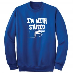 I'm with Stupid, Royal Blue/White, Crew Sweatshirt