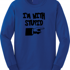 I'm with Stupid, Royal Blue/Black, Long-Sleeved