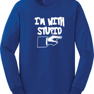 I'm with Stupid, Royal Blue/White, Long-Sleeved
