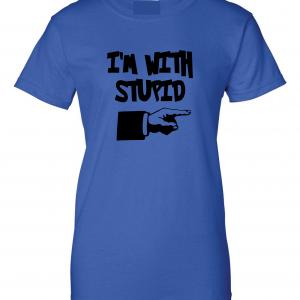 I'm with Stupid, Royal Blue/Black, Women's Cut T-Shirt