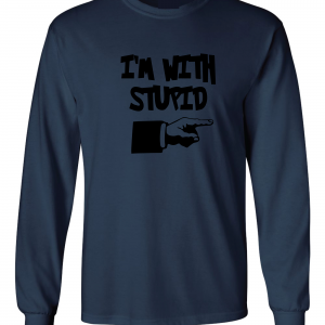 I'm with Stupid, Navy/Black, Long-Sleeved