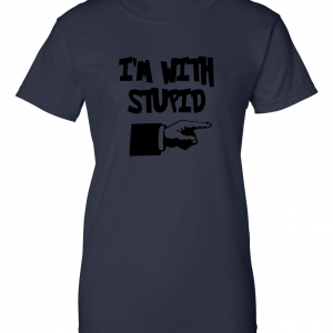 I'm with Stupid, Navy/Black, Women's Cut T-Shirt