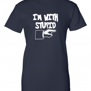I'm with Stupid, Navy/White, Women's Cut T-Shirt