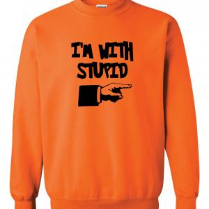 I'm with Stupid, Orange/Black, Crew Sweatshirt